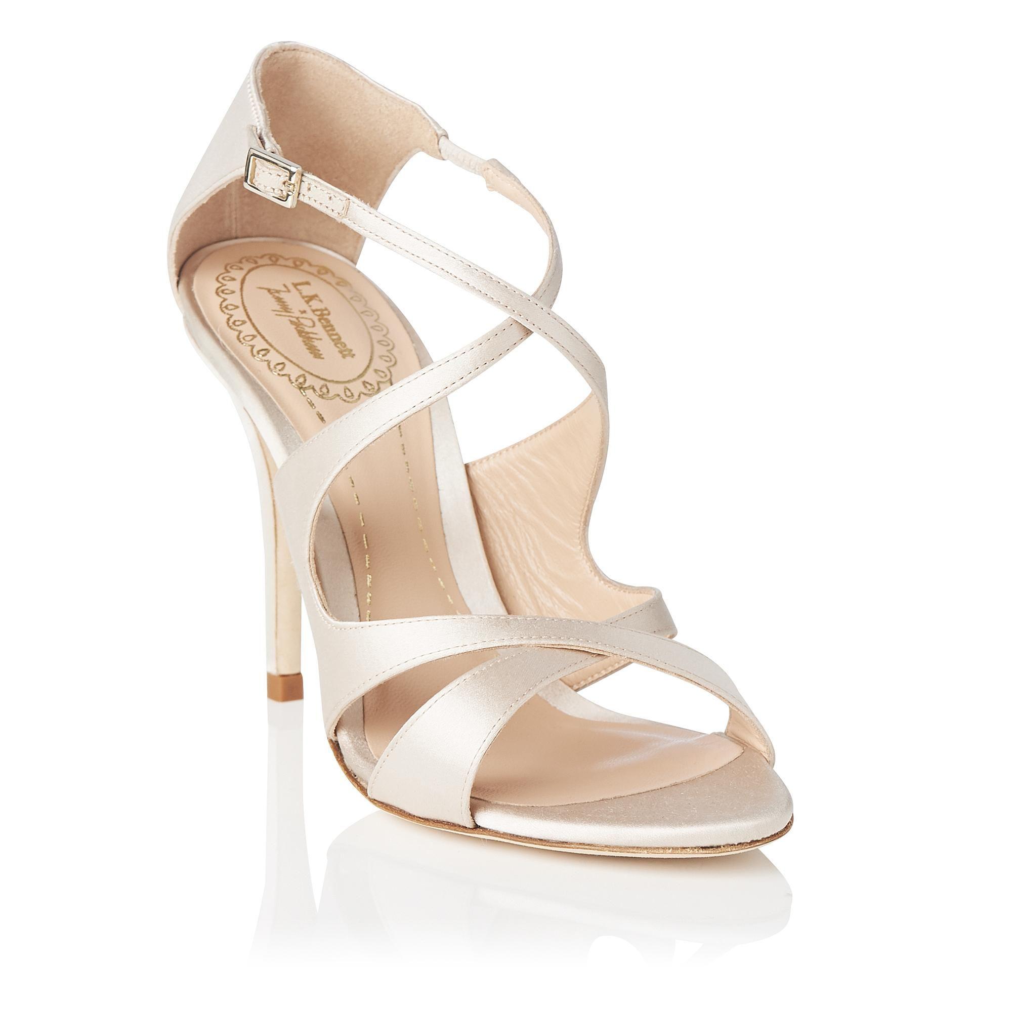 8f48e162258 Brielle Nude Satin Sandals | shoes | Sandals, Shoes, Bridal shoes