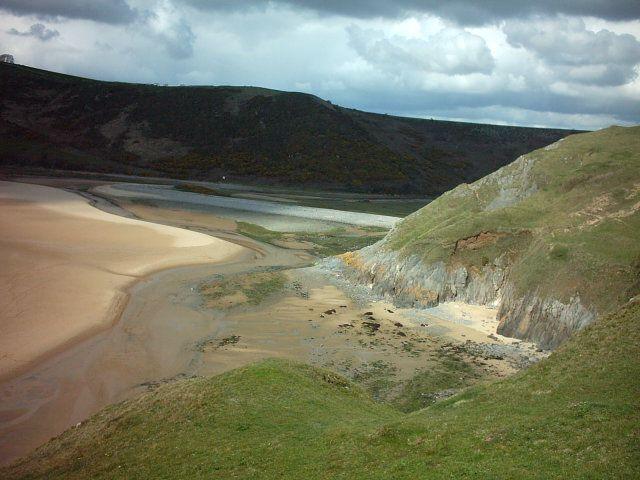 Three Cliffs Bay beach on the Gower Peninsular, Wales