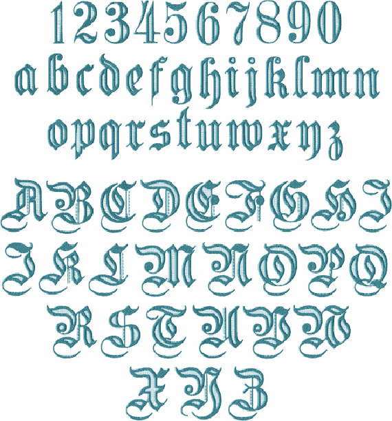 Gothic 1 Alphabet 26 Upper Case Letters 10 Numerals And 26 Lower