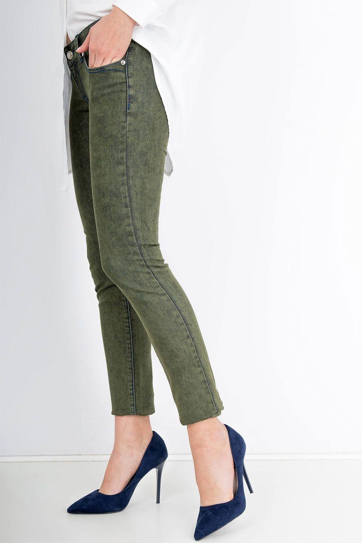 78ad9f0dd0bb Dámske zelené nohavice s modrým detailom