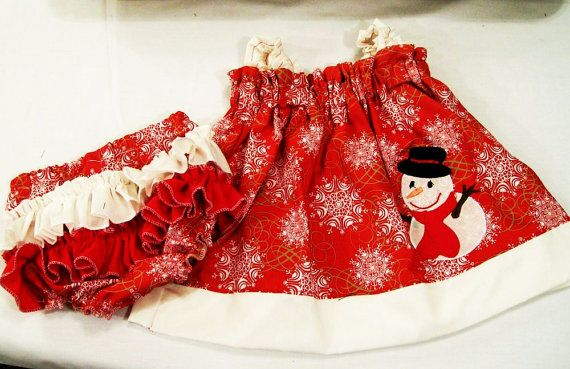 Girls Christmas Dress Set Snowman With Ruffle Panties by togs4tots, $48.00