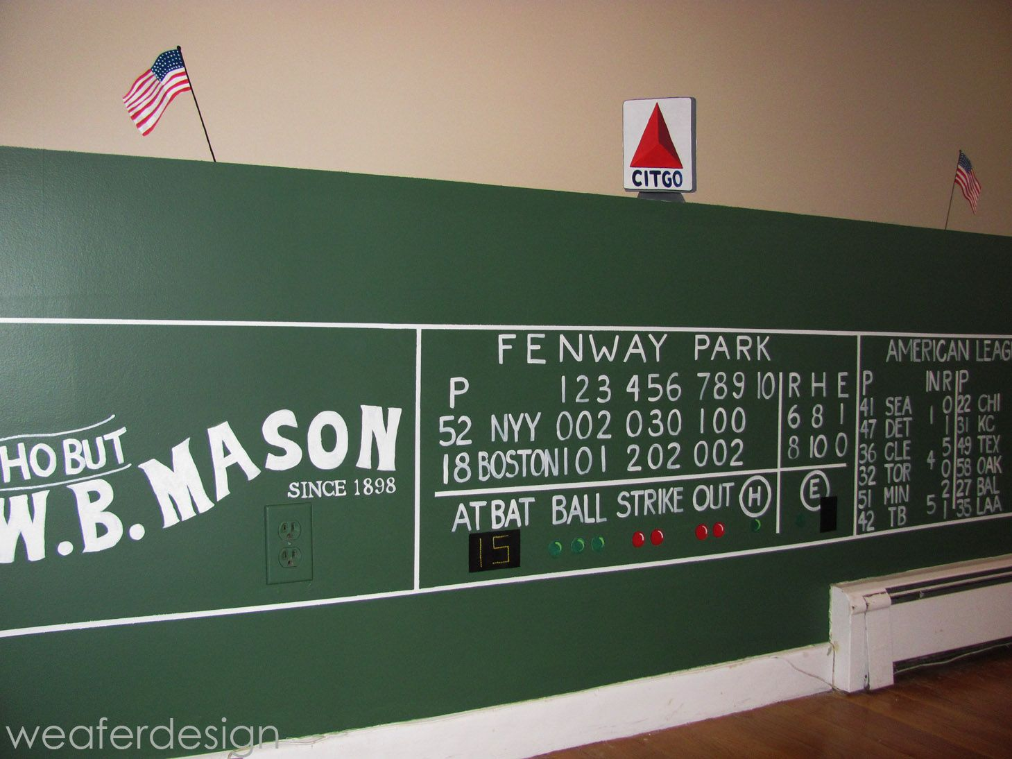 Red Sox Green Monster Fenway Scoreboard Kids Room Hand