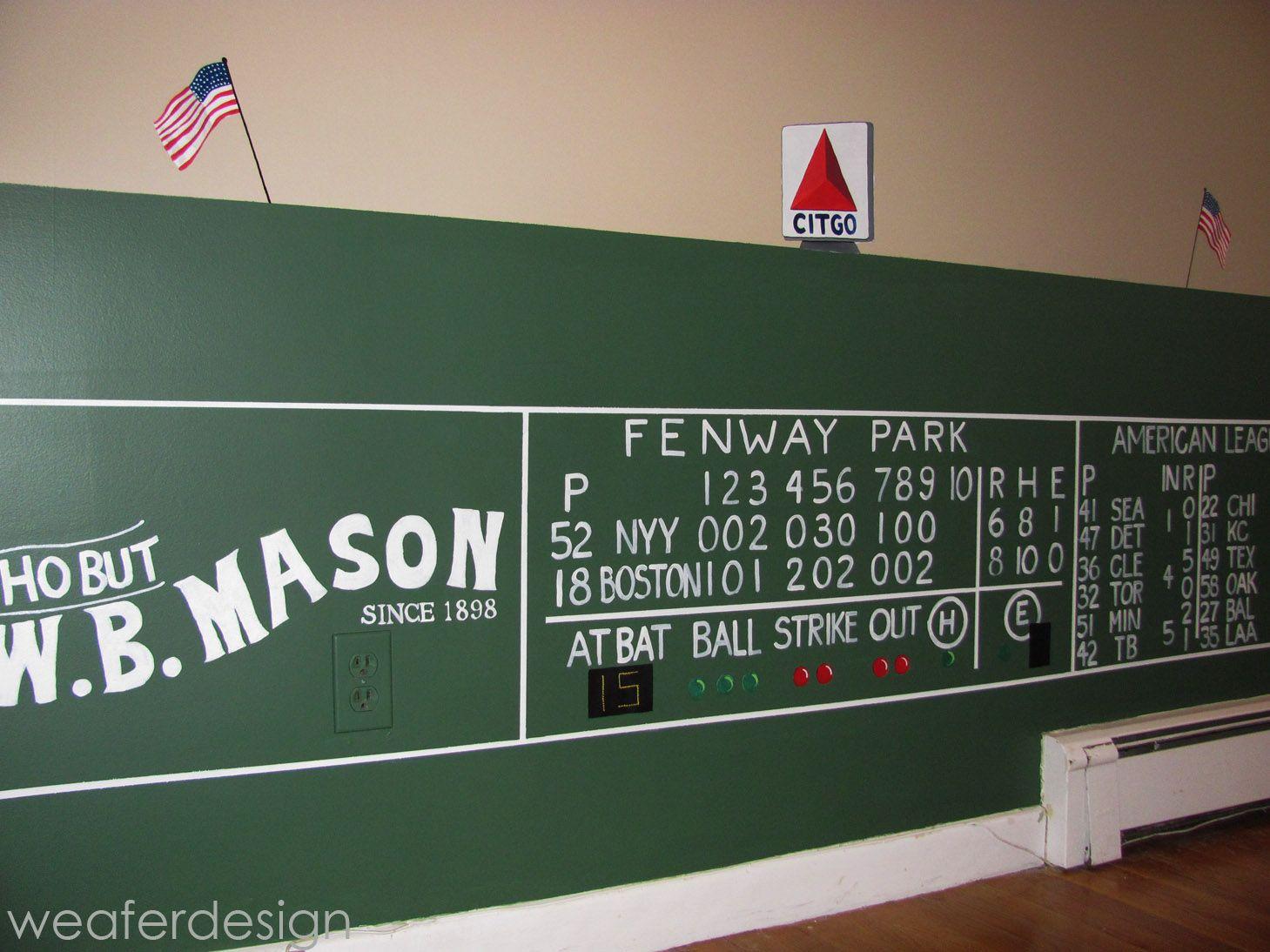 Red sox green monster fenway scoreboard kids room hand for Boston red sox bedroom ideas