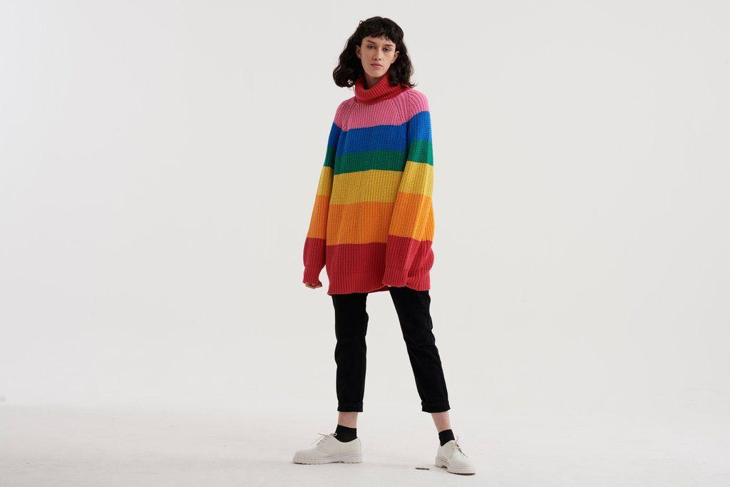 Lazy Oaf Rainbow Roll Neck Knit Fashion Daily Lazy Oaf Pastel