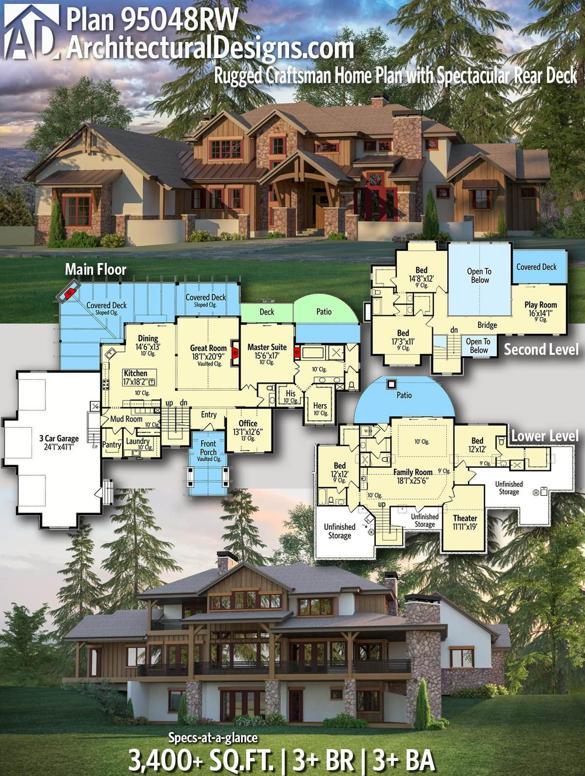 Plan 95048rw Rugged Craftsman Home Plan With Spectacular Rear Deck Craftsman House Plans Dream House Plans Rustic House Plans