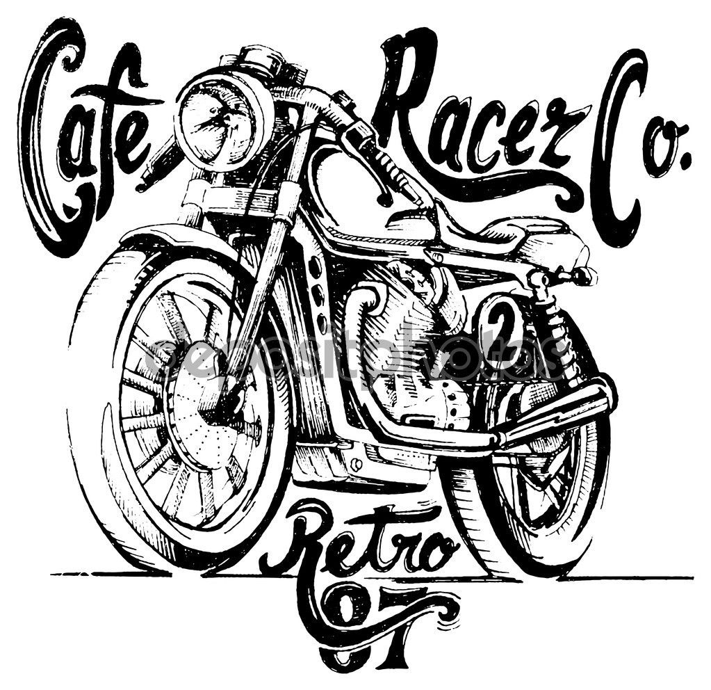 Pin up motorcycle line art jpg - Vintage Motorcycle Hand Drawn Vector Buy This Stock Vector On Shutterstock Find Other Images