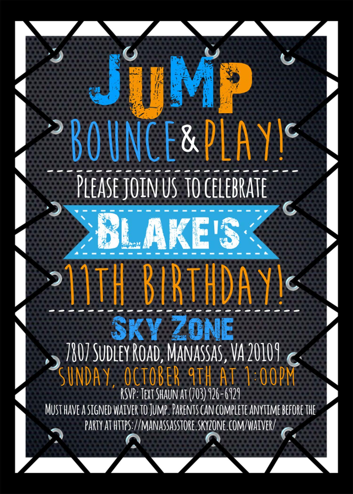 Blake S 11th Birthday Party Invite Etsy Trampoline Birthday Party Boy Birthday Party Invitations Trampoline Birthday Invitations