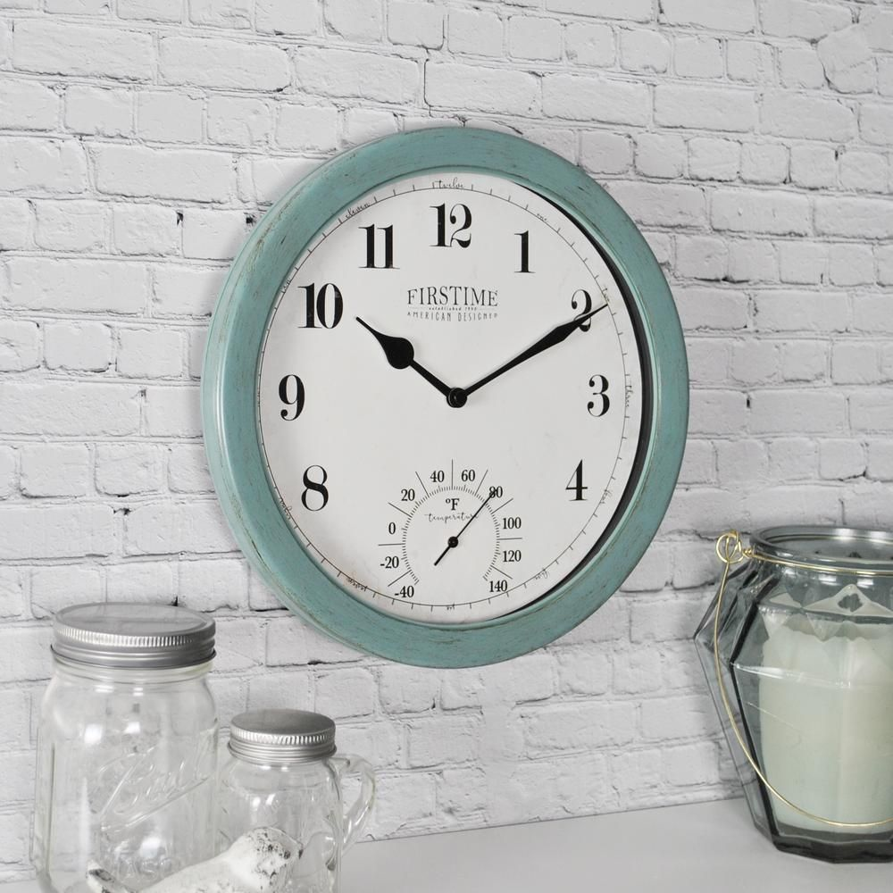 Firstime Firstime Chatham Outdoor Wall Clock 31041 Outdoor Wall Clocks Wall Clock With Thermometer Outdoor Walls