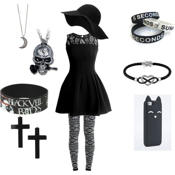Goth/Emo Dress and Accesories #emodresses Goth/Emo Dress and Accesories by dragonbean02 on Polyvore featuring art #emodresses