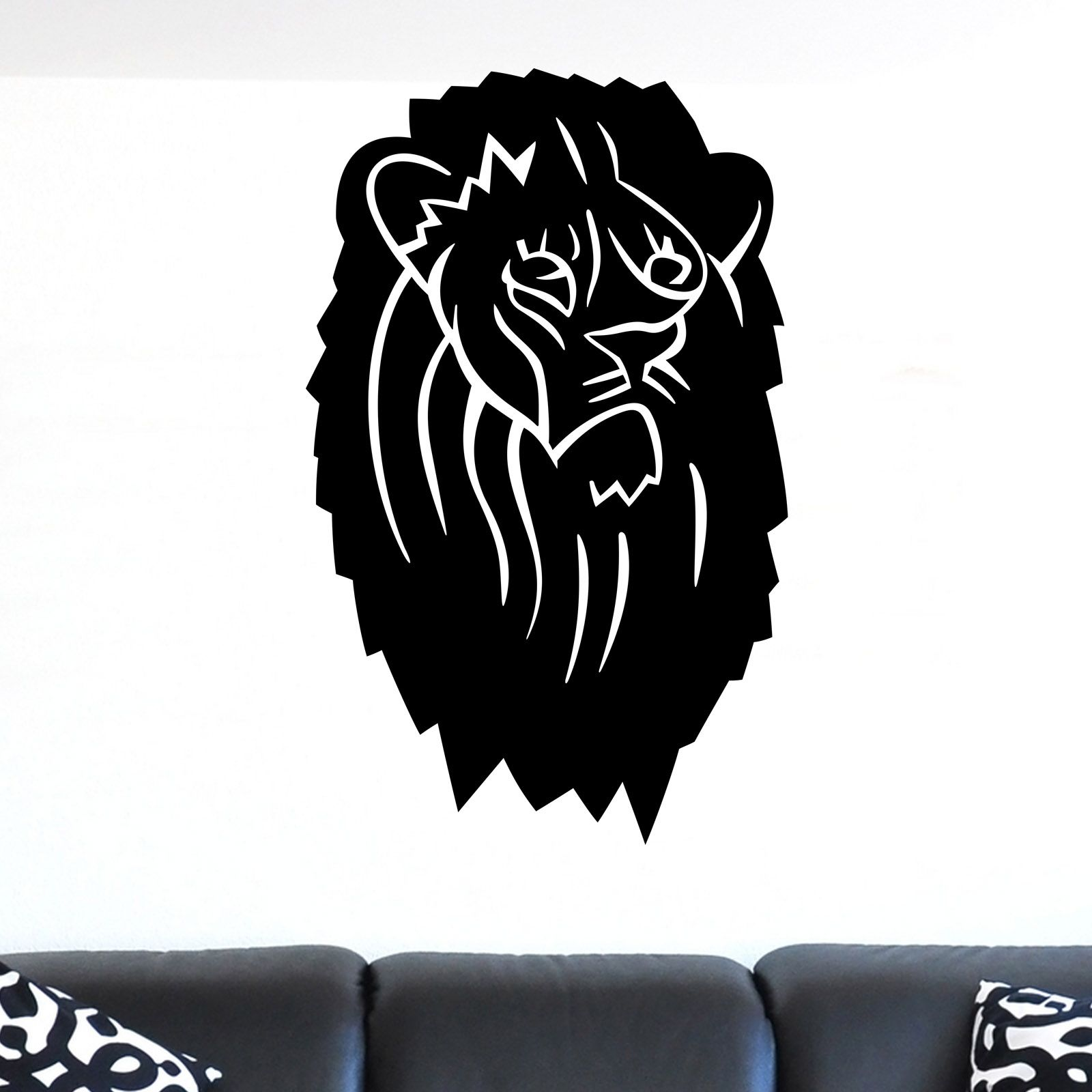 nice Simple Lion Head Animal Wall Sticker
