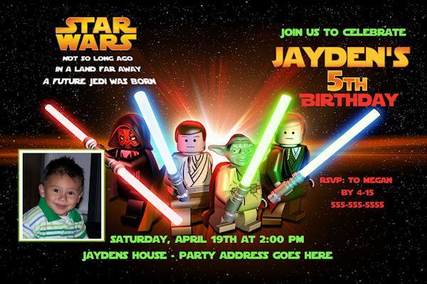 Lego Star Wars Custom Birthday Party Starwars Invitation