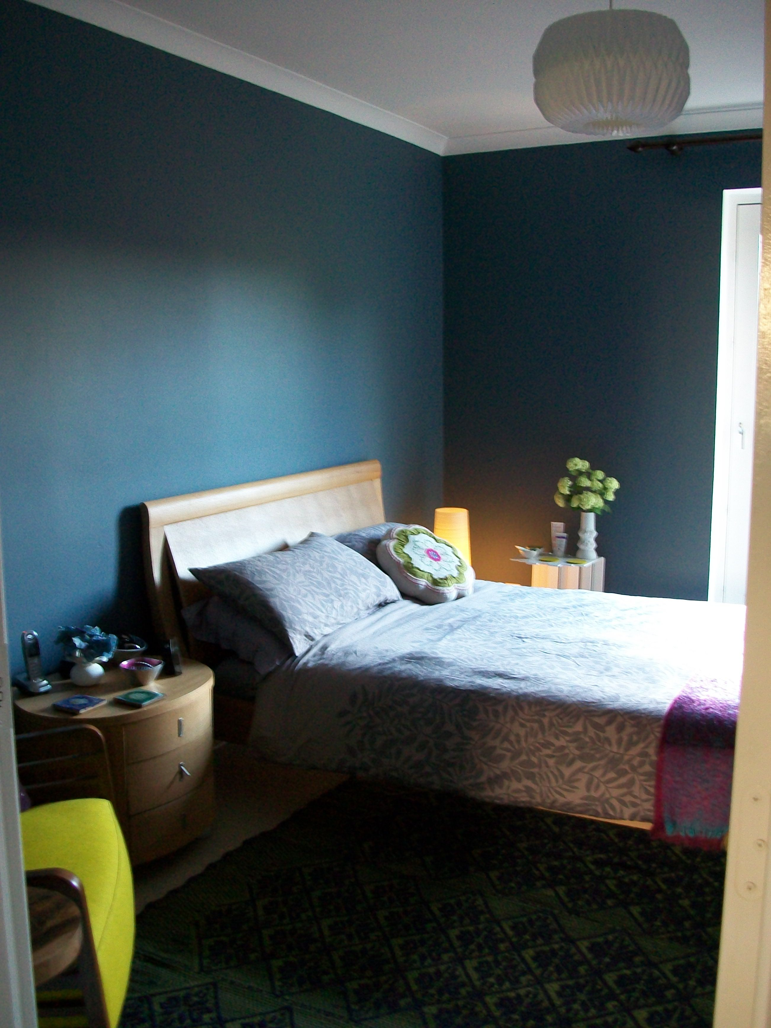 My Dark Blue Bedroom Walls Steel Symphony 1 Dulux Anthropologie Rug Purple Yellow Theme