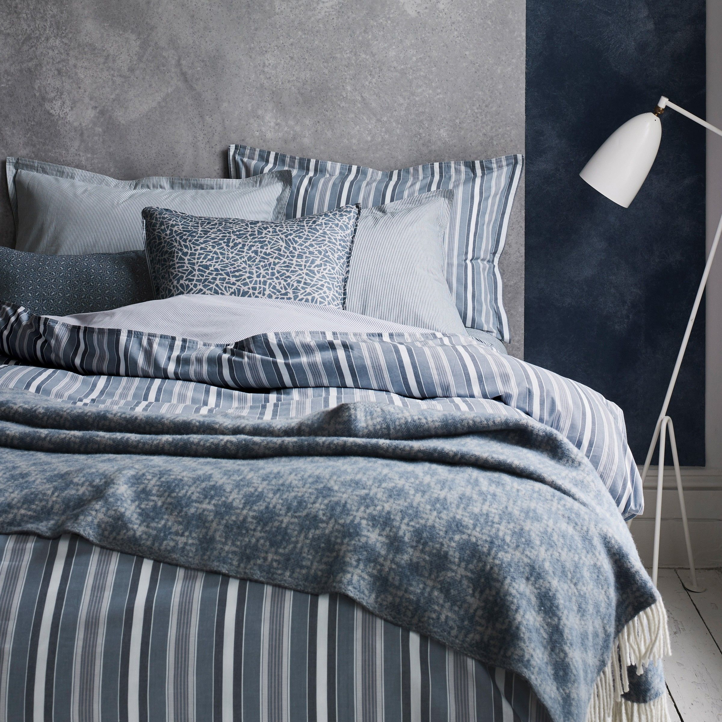 Murmur Kyoto Stripe Bedding In Copenhagen Blue Murmur Striped Bed Sheets Striped Bedding Striped Duvet Covers