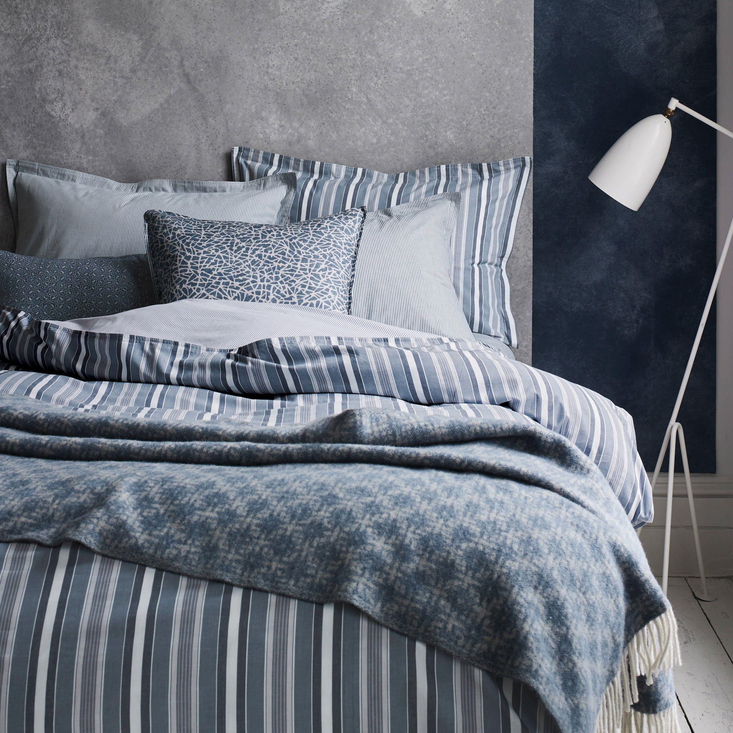 Murmur Kyoto Stripe Bedding In Copenhagen Blue Murmur Bed Blue
