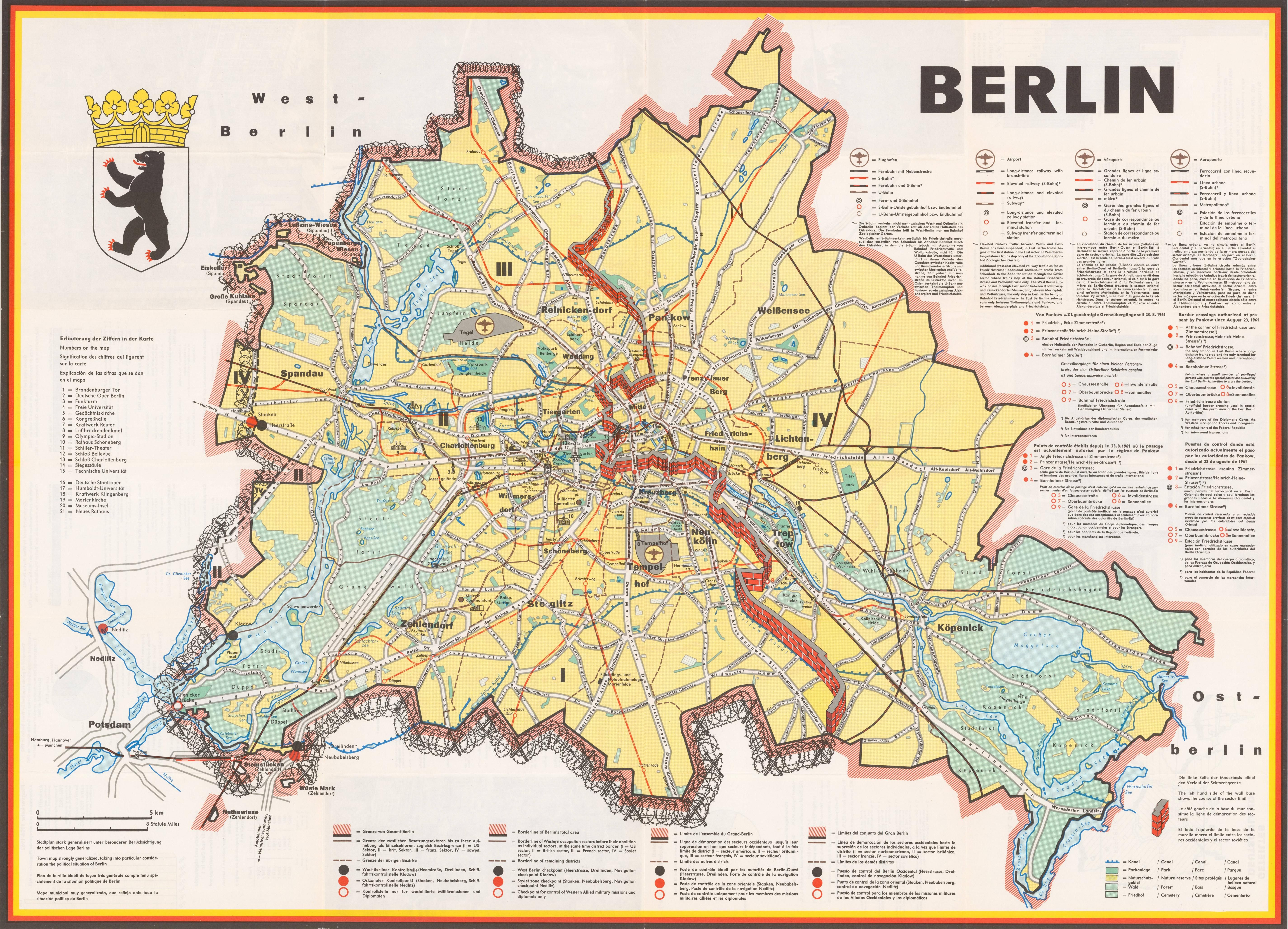 Berlin a cold war map showing the Berlin Wall as a bricked up barrier