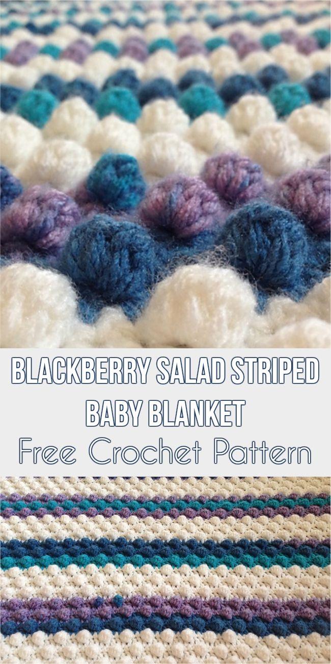 Blackberry Salad Striped Baby Blanket - Free Crochet Pattern ...