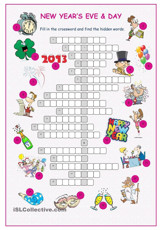 New Year S Eve Day Crossword Puzzle Alphabet Worksheets Preschool New Years Eve Day Crossword Puzzle [ 1440 x 1018 Pixel ]