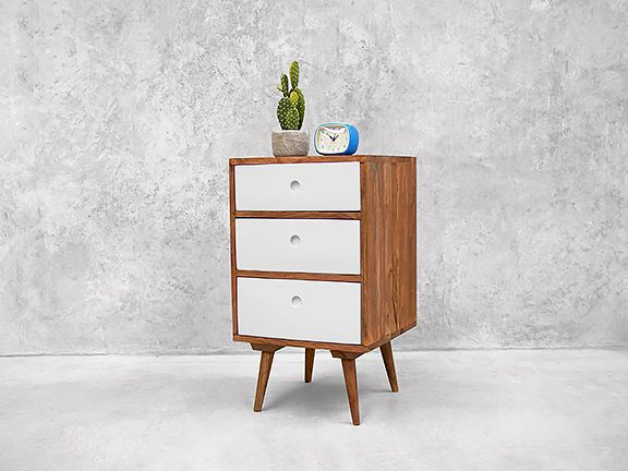 Scandinavian Nightstand White - Three Drawers Interior Design