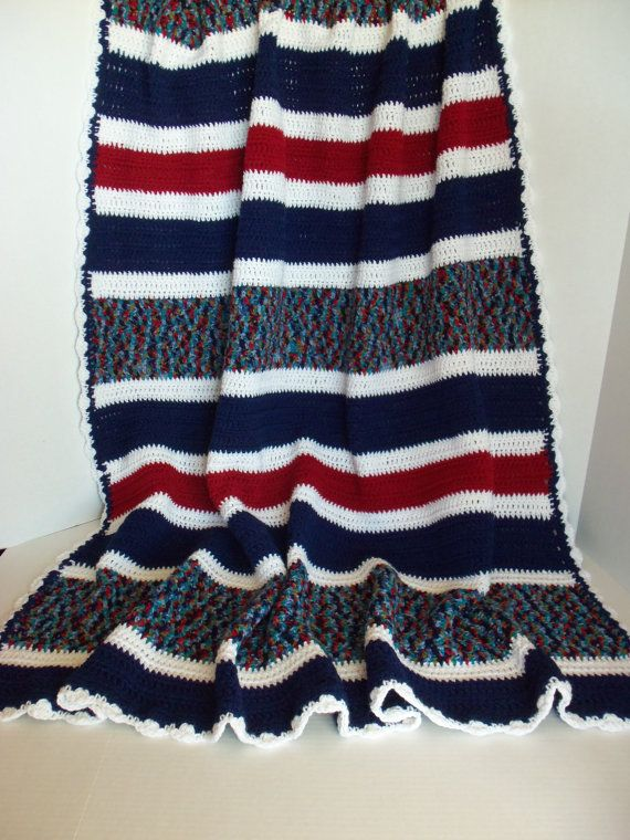 Red White and Blue Crochet Afghan Americana Blanket Hand | I love ...