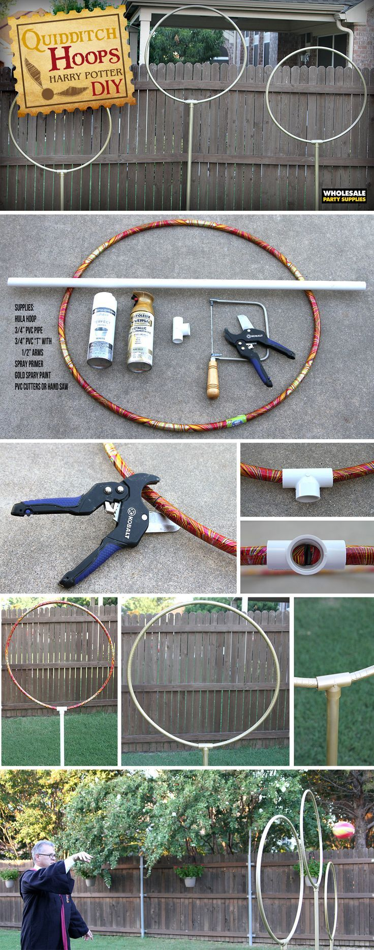 DIY Quidditch Goals for a Harry Potter Party Game kids will LOVE! Perfect for a kids Birthday Party. #affiliate #harrypotter #harrypotterfan #diy #kids #kidsgame #games #diygame #fun #kidsparty #partyideas #partygames #birthdayparty #party