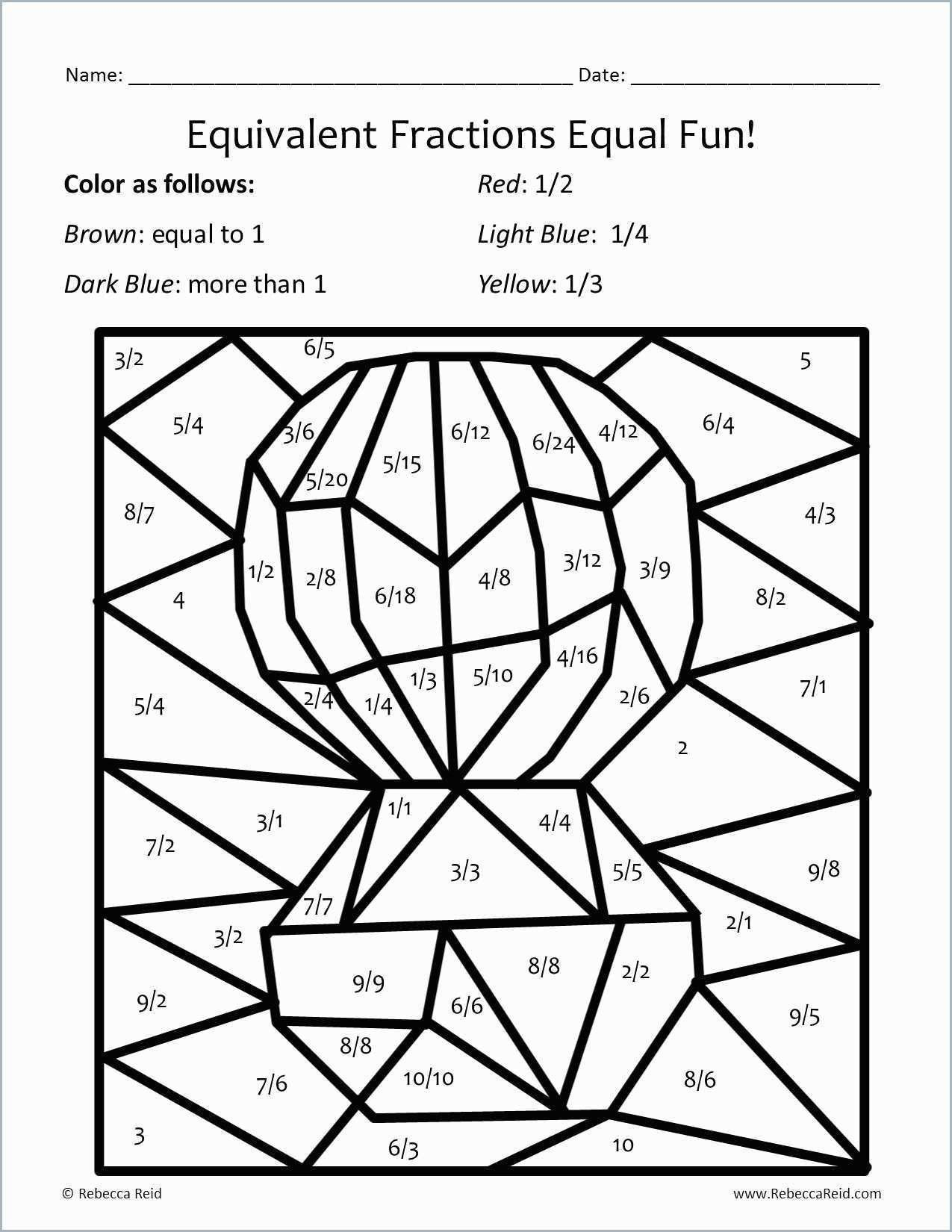 Coloring Math Worksheets 4th Grade Coloring Fractionring Sheets 4th Grade  Free Printabl…   Math coloring worksheets [ 1650 x 1275 Pixel ]