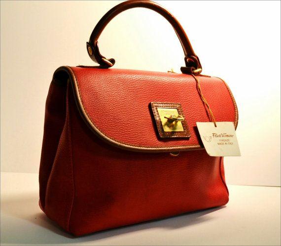 Vintage Red Flavi Vismano Bag Leather Trim small by stellanjune, $141.00