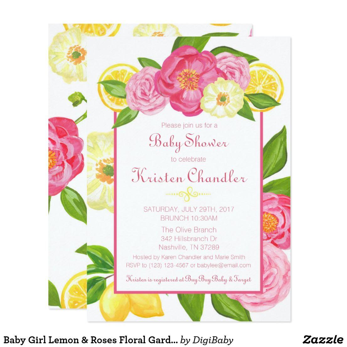 Baby Girl Lemon & Roses Floral Garden Baby Shower Card Brunch ...