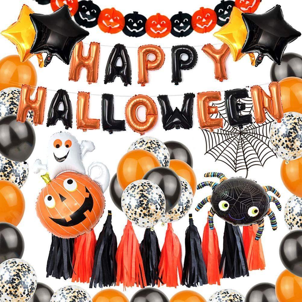 Xxl Halloween Deko Set Halloween Ballons 48 Stucke Halloweendeko In 2020 Grusel Dekoration Halloweendeko Halloween Deko