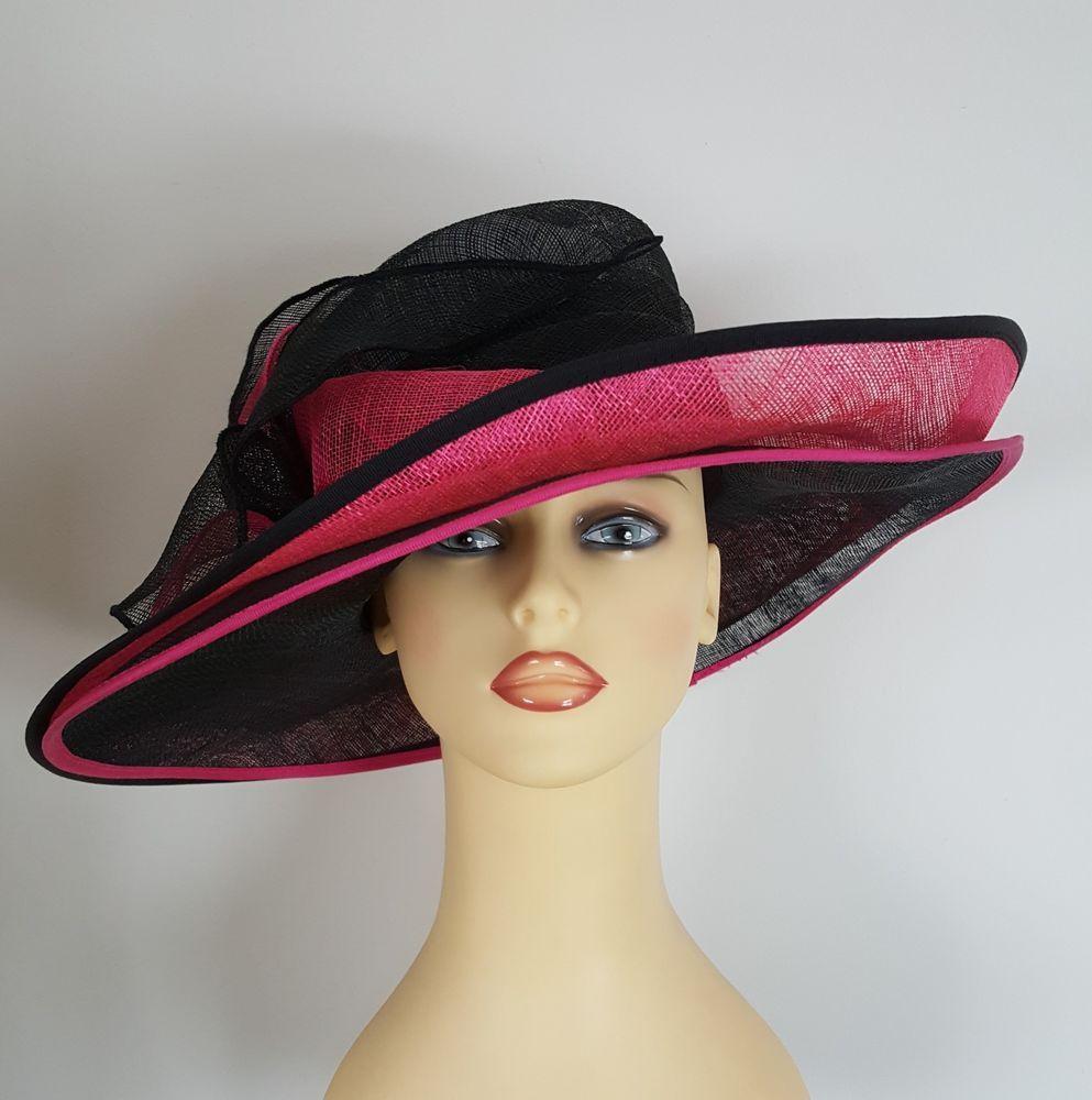 e39aaf9024556 Ladies Wedding Hat Races Cerise Pink   Black Layered Stunning By Marida  Ladies Wedding Hats