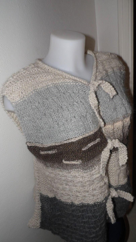 Tunique longue et ouverte en alpaga et laine : T-Shirt, debardeurs par annbcreation