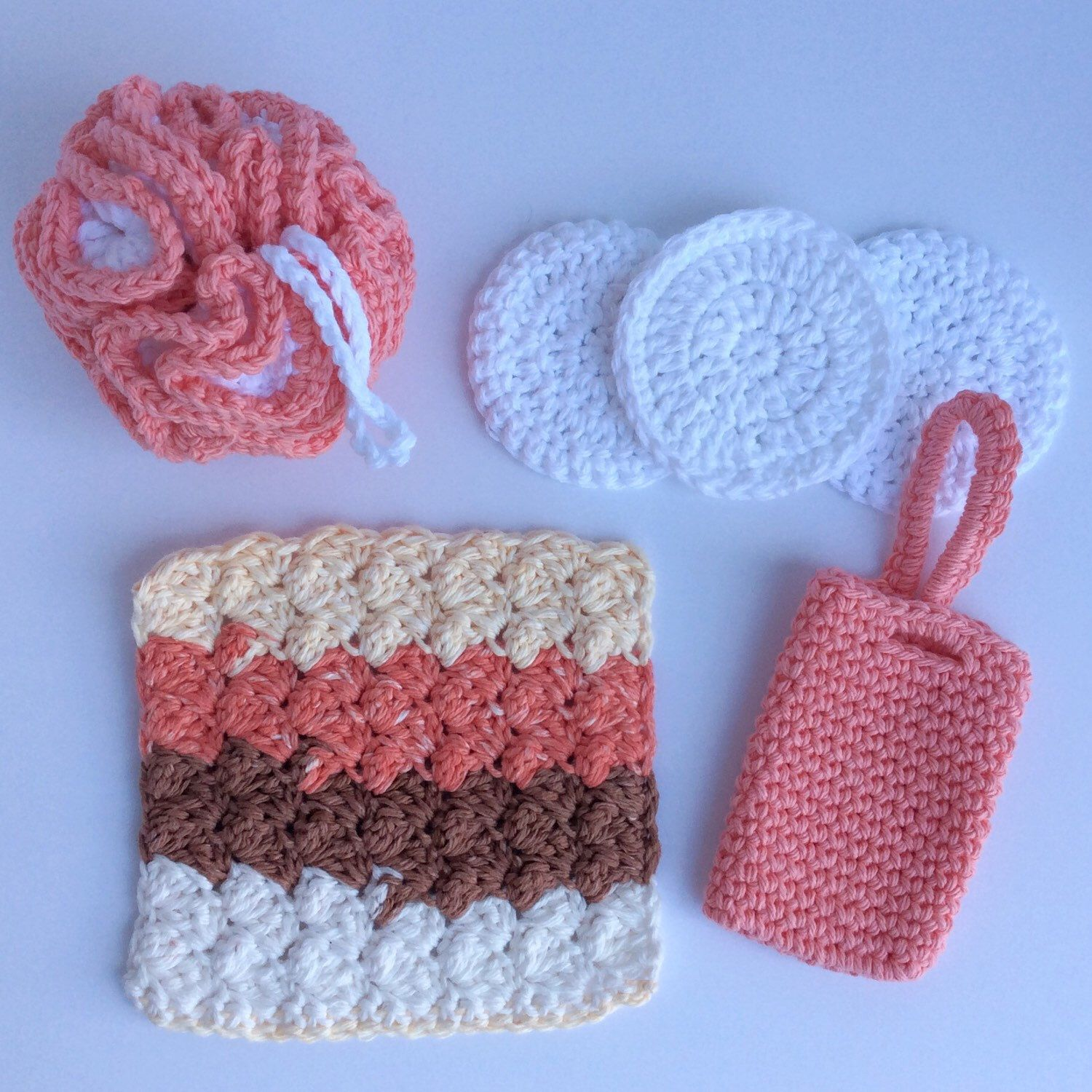 Crochet Spa Bundle, Cotton Spa Set, Pink Spa Set, Crochet Bath Set ...