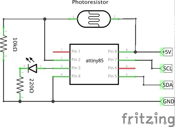 Attiny85 As Light Sensor With I2c Bus  Github