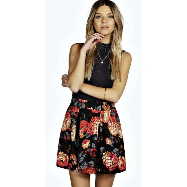 Boohoo Lua Floral Box Pleat Skater Skirt (19 CAD) ❤ liked on Polyvore featuring skirts, multi, black floral skirt, black circle skirt, skater skirt, midi skater skirt and floral skater skirt