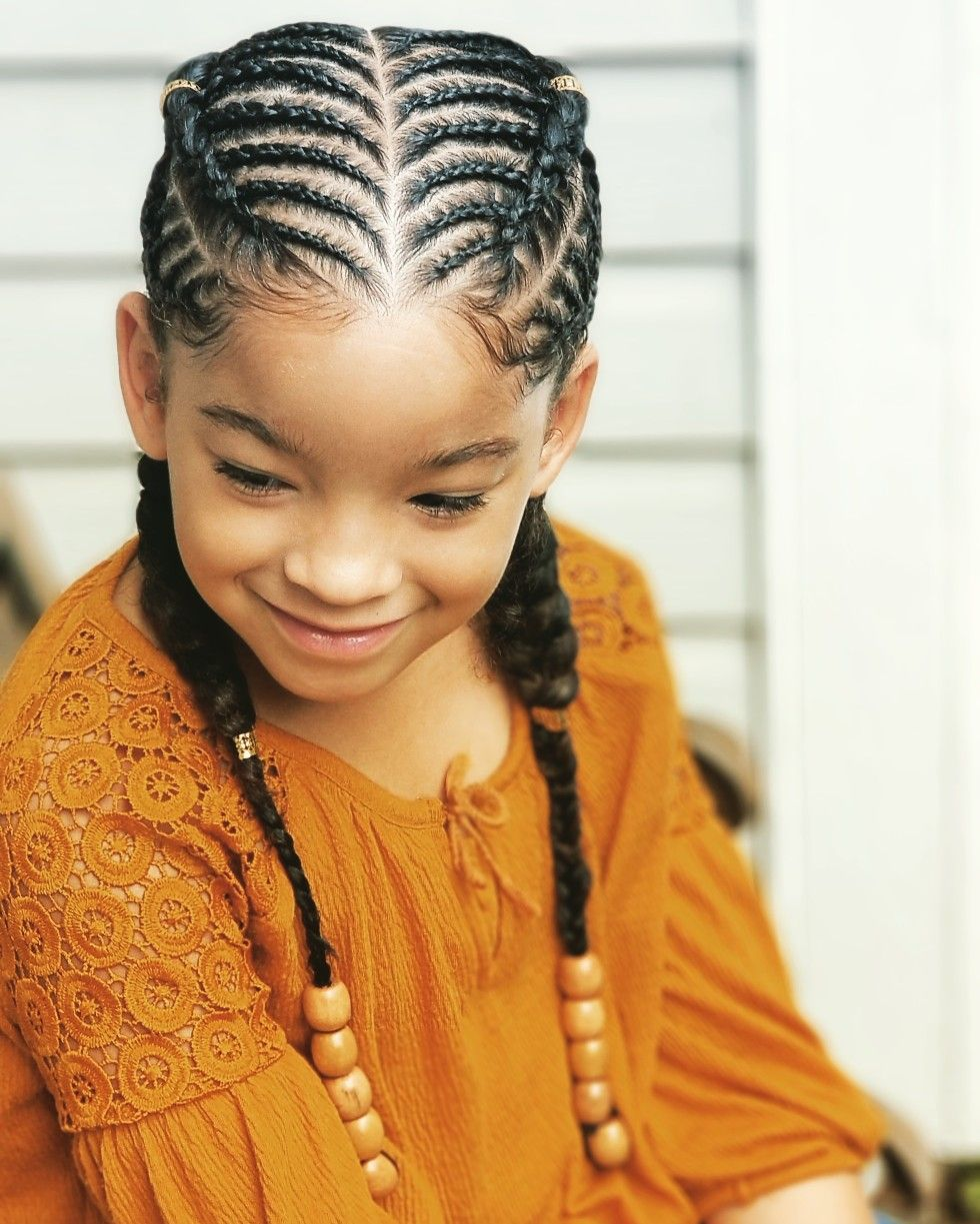 Kid cornrows, kid hairstyles. BraidsByTeshia. Instagram