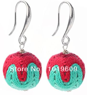 Aliexpress.com : Buy Free shipping lovely style red and green color ball shape wool earrings from Reliable Drop Earrings suppliers on Bjbead...