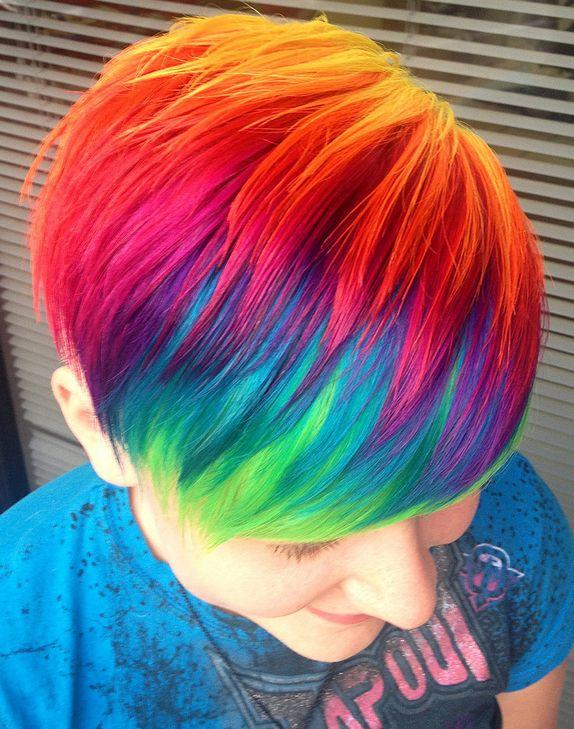 Short Rainbow Hair on Pinterest | Hair Stripper, Rainbow ...