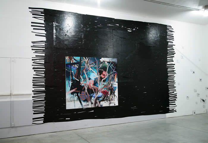 Manuele Cerutti - Booby Trap installation at Viafarini, Milano, Re-Enacted Painting Exhibition curated by Milovan Farronato