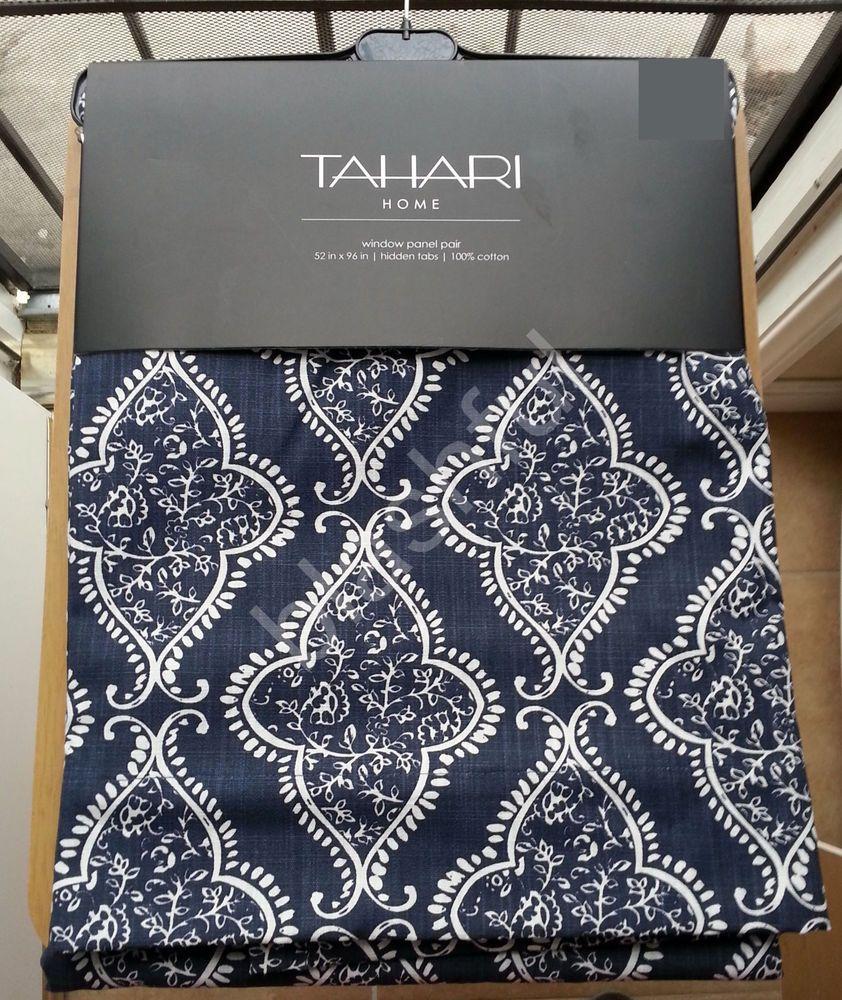 New Tahari Navy Blue Base Medallion Damask Window Curtain Panels