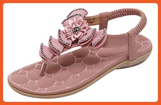 cc1987b36d379e Abby 116-2 Womens Bohemian Folk Style Fashion Rhinestones Flower Concise Flat  Sandals Lightweight Sunny