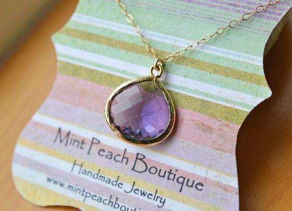 Purple Teardrop Pendant Necklace by Mint Peach Boutique www.mintpeachboutique.com