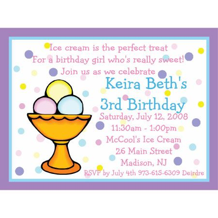 Ice Cream Birthday Invitation Wording Invitations
