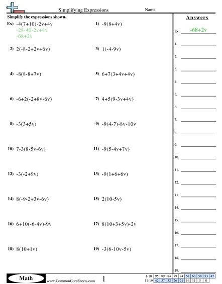 Algebra Worksheets Algebraic Expressions Simplifying Expressions Simplifying Algebraic Expressions