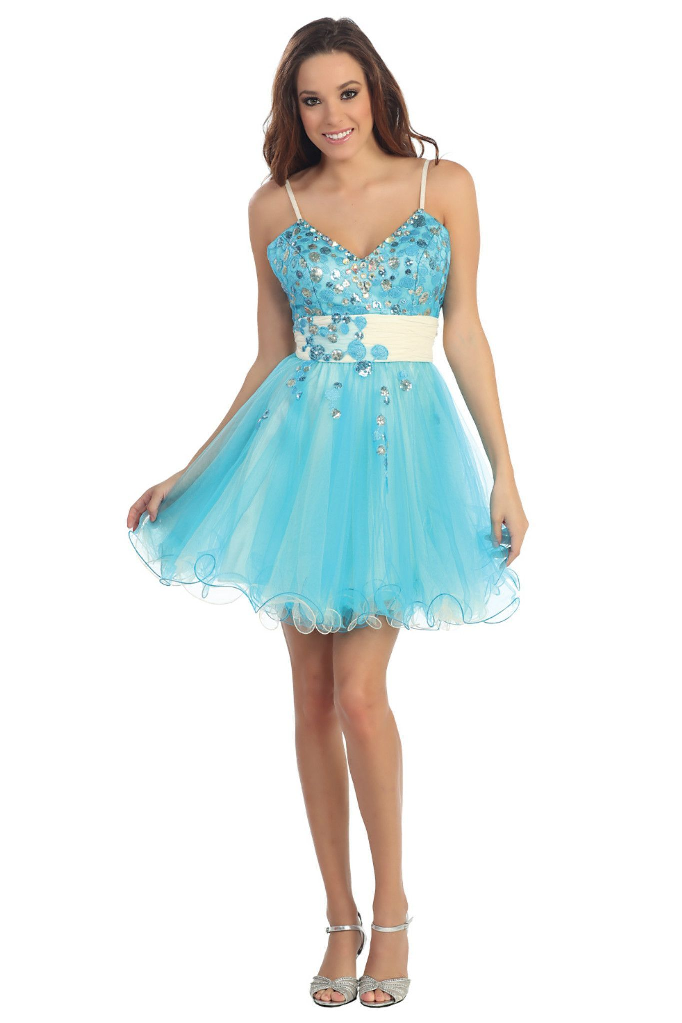 Lovely Homecoming Short Cocktail Fun Flirty Spaghetti Strap Prom ...
