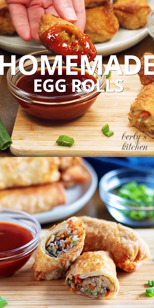 Homemade Egg Rolls An easy to follow recipe to make tasty, homemade egg rolls. These Asian inspired appetizers will satisfy your cravings for Chinese take-out. Food Video, Recipe Video#berlyskitchen