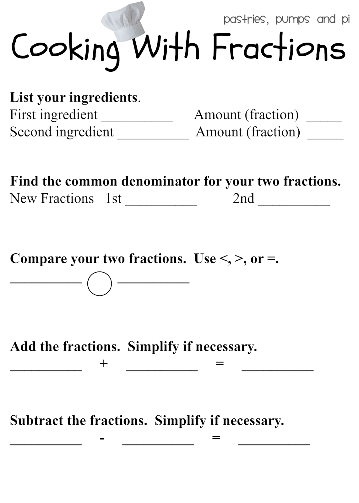 Cooking With Fractions Free Printable Pastries Pumps And Pi Fractions Fractions Worksheets Learning Fractions [ 1600 x 1143 Pixel ]