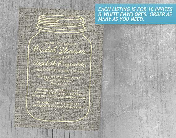 Gold Rustic Burlap Mason Jar Bridal Shower Invitations