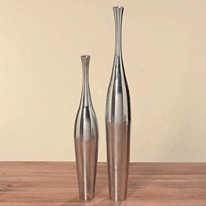 Xxl Vase Bodenvase Silber H 76 Cm Aluminium Alu Deko Dekoration