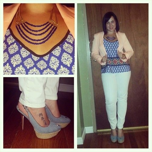 ROYAL-ly rocking my new @ortegajewelry necklace! #ootd #outfitpic #WIW. #printed #tanktop from #marshalls, #HM #orange  #blazer, #white #JoesJeans, #SamEdelman #denim #shoes, #OrtegaJewelry #royalblue #beaded #necklace. #OrtegaDesigns  #summertrends #trends #summercolors #orangeandroyal  #fashion #fashionista #instafashion #trustintricia #WardrobeConsultant #FashionStylist