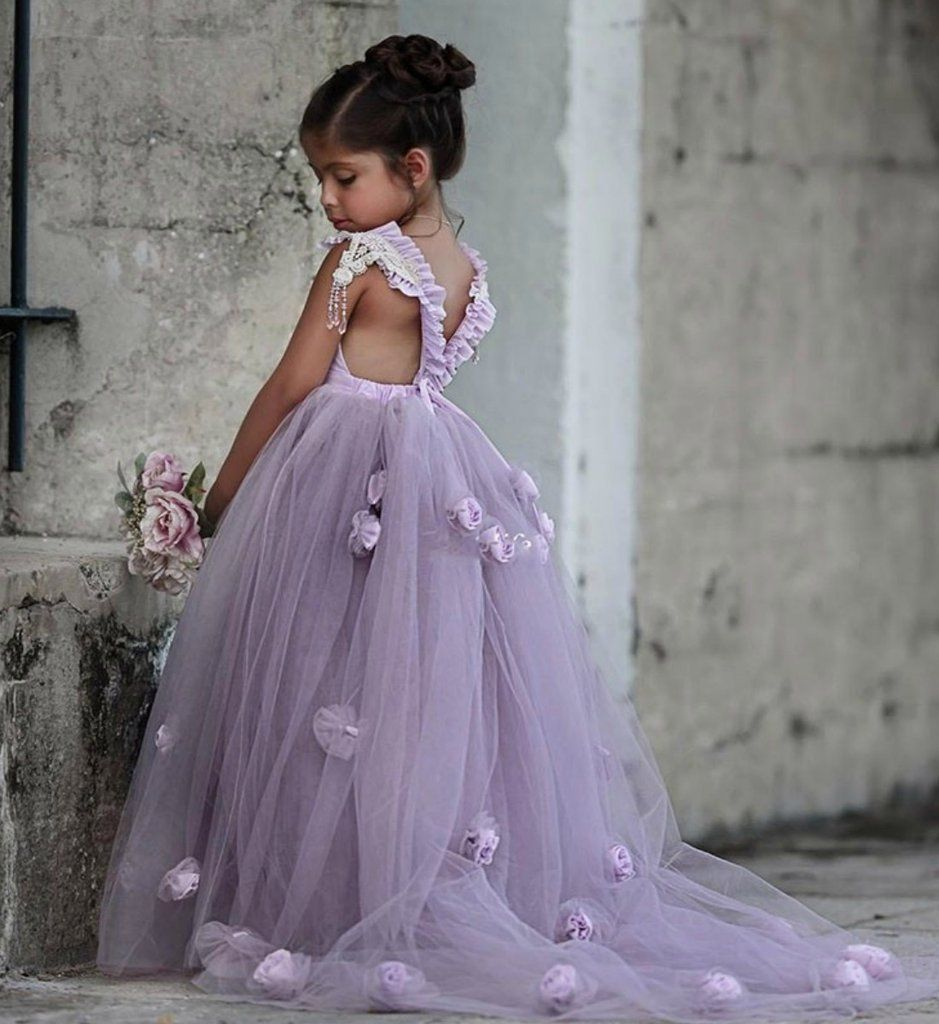 de6612c3d6c Beautiful Design Trail Floral Backless Blue   Lavender Ankle Length Flower  Girl Dress Available from 2 until 14 years old Material  Lace