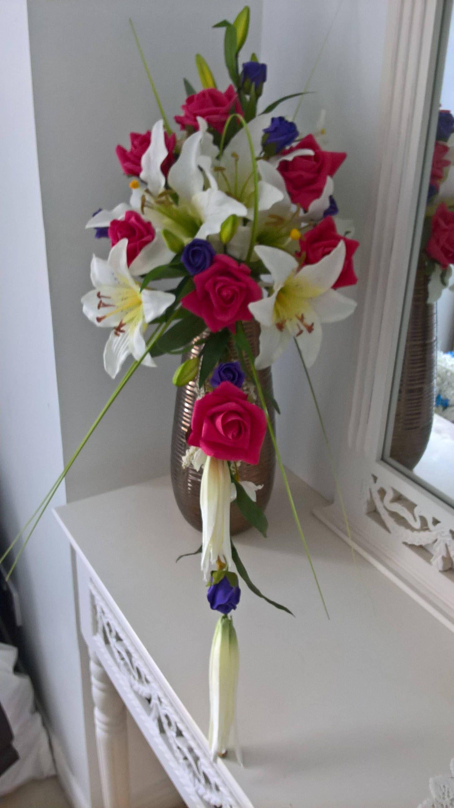 Wedding bouquet wedding flowers brides bouquet silktiger lilly wedding bouquet wedding flowers brides bouquet silktiger lilly raspberry roses izmirmasajfo